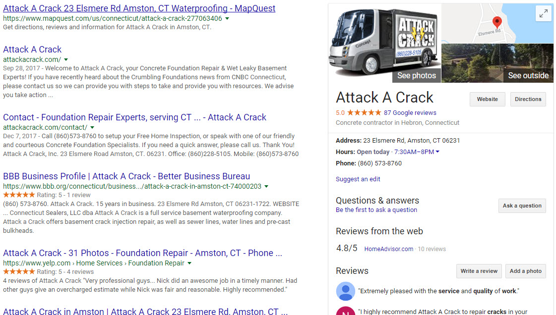Google Reviews Page - Attack A Crack (CT)