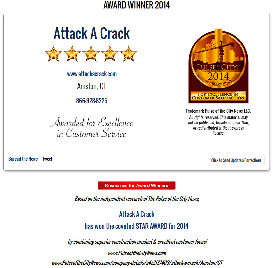 2014 Pulse of the City Award - Attack A Crack Foundation Repair