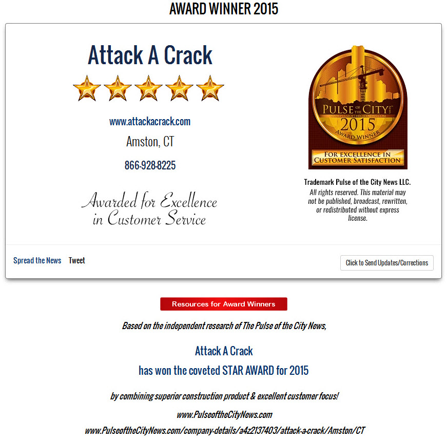 2015 Pulse of the City Award - Attack A Crack Foundation Repair