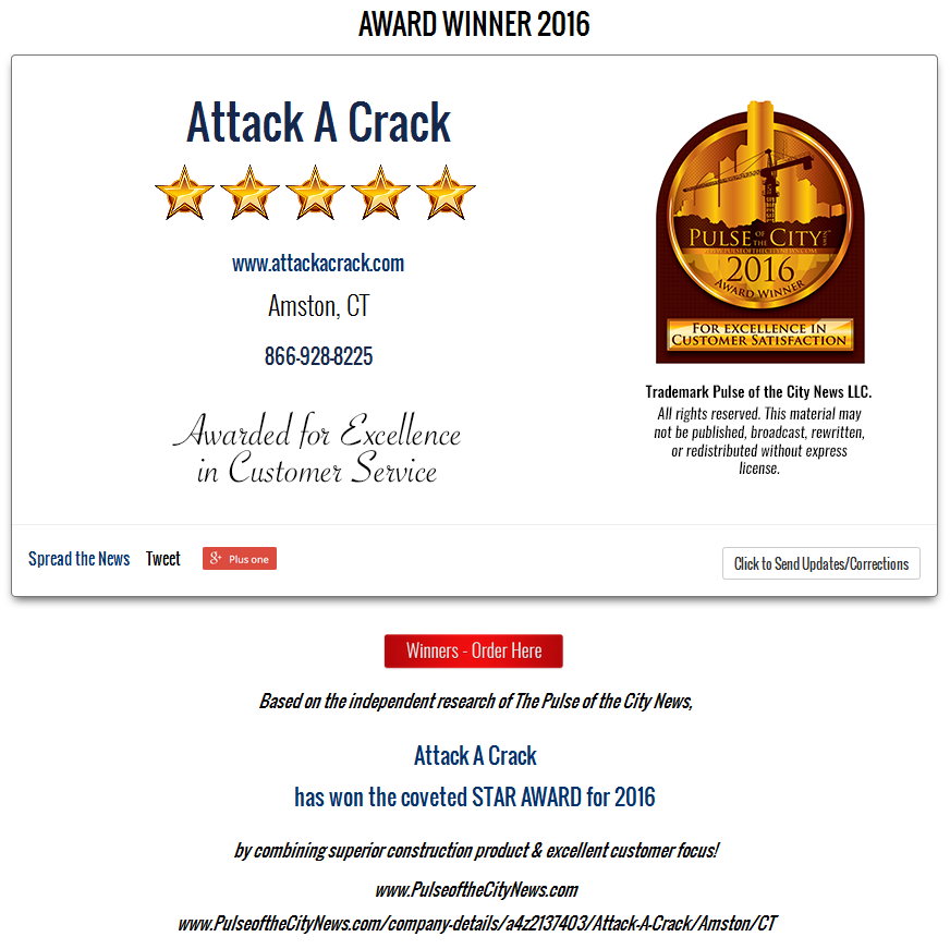 2016 Pulse of the City Award - Attack A Crack Foundation Repair