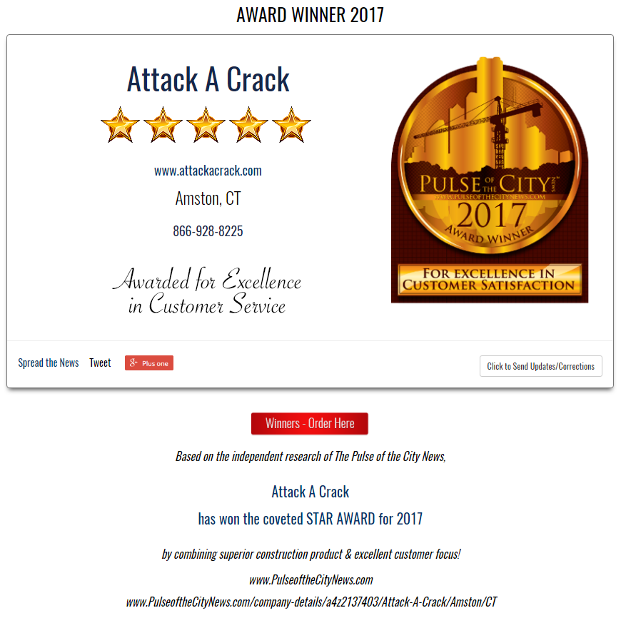 2017 Pulse of the City Award - Attack A Crack Foundation Repair